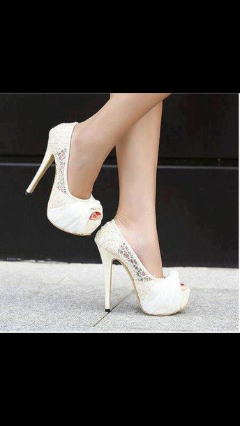 shoes white high heels high heels