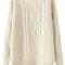 Romwe | asymmetric twisted cream jumper, the latest street fashion