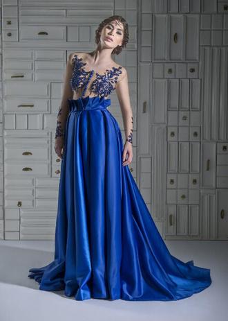 dress designer dress evening dress formal dress royal blue dress prom dress long prom dress