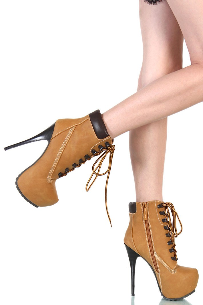 high heel boots timberland style camel
