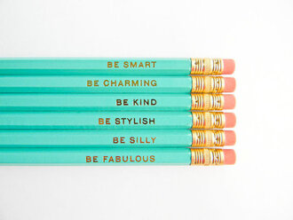 jewels pencils turquoise gold smart charming kind stylish silly fabulous cute weheartit lovely quote on it vintage tumblr aqua message beautiful blue pencil back to school