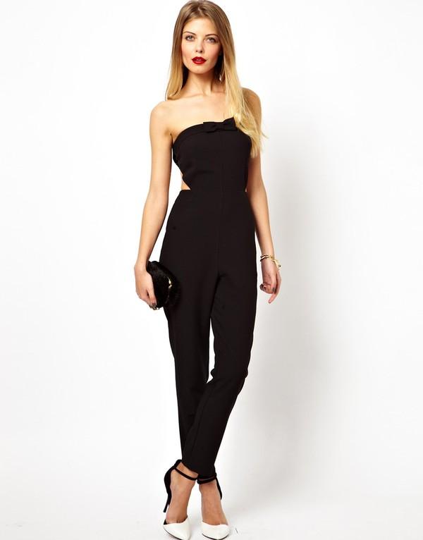 jumpsuit bow bandeu long bandeu jumpsuit asos black fitting tight fitting jumpsuit fitted jumpsuit long jumpsuit strapless cute