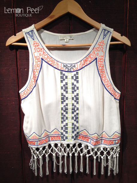 tank top fringes tribal pattern