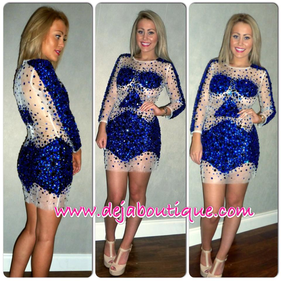 Deja Boutique. 'Azure' blue crystal rhinestone dress
