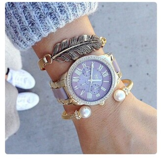 jewels micheal kors watch gold women watches gold jewelry pearl style fashion bracelets jewelry stacked bracelets arm candy pearl bracelet