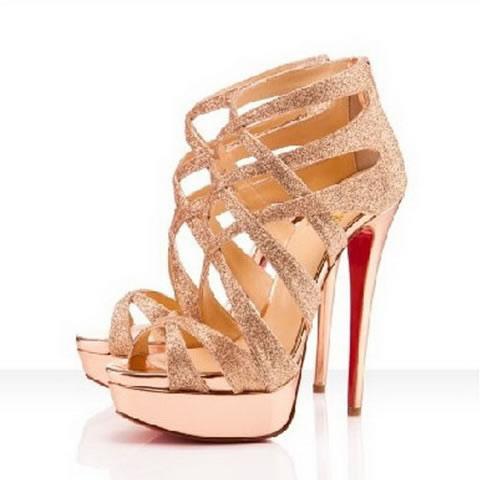 Classic Christian Louboutin Red Bottoms Balota 150 Glitter Platform Sandals Gold