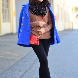 scarf blogger red bag daily disguise pea coat ballet flats scarf red