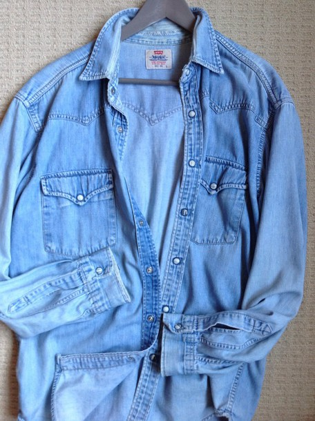 shirt oldshhirt keeper denim shirt chambray shirt levi's western chic vintage goodwill longsleeve shirt