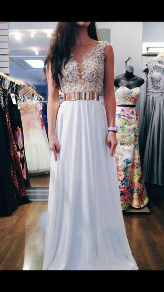 dress maxi white gold prom dress