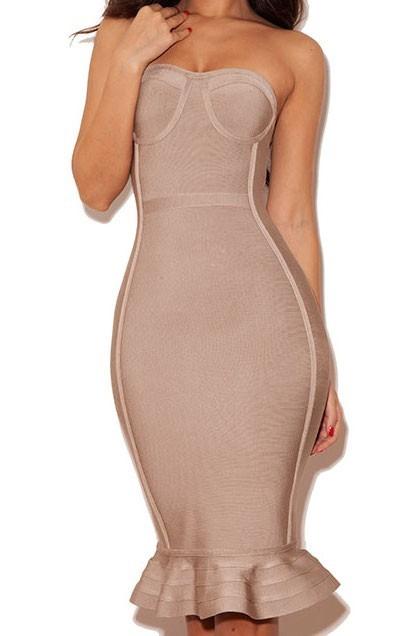 Novoa strapless nude bandage dress