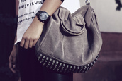bag,grey,leather pants,black watch,studded,white shirt,studs,purse,rockie bag,alexander wang rockie bag