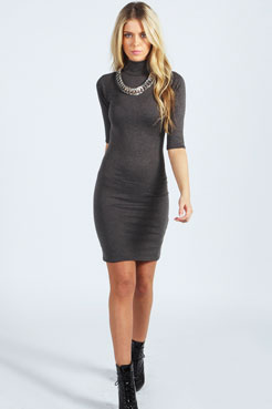 Nancy High Neck 3/4 Sleeve Bodycon Dress at boohoo.com