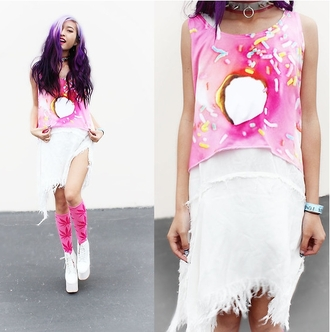 t-shirt donut sugar sweet crop top crop tops hot summer pink white trendy