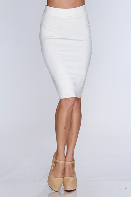 White High Waist Pencil Skirt / Sexy Clubwear | Party Dresses | Sexy Shoes | Womens Shoes and Clothing | AMI CLubwear