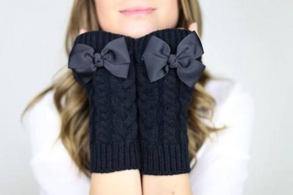 knit black sweater cute gloves bow damn double