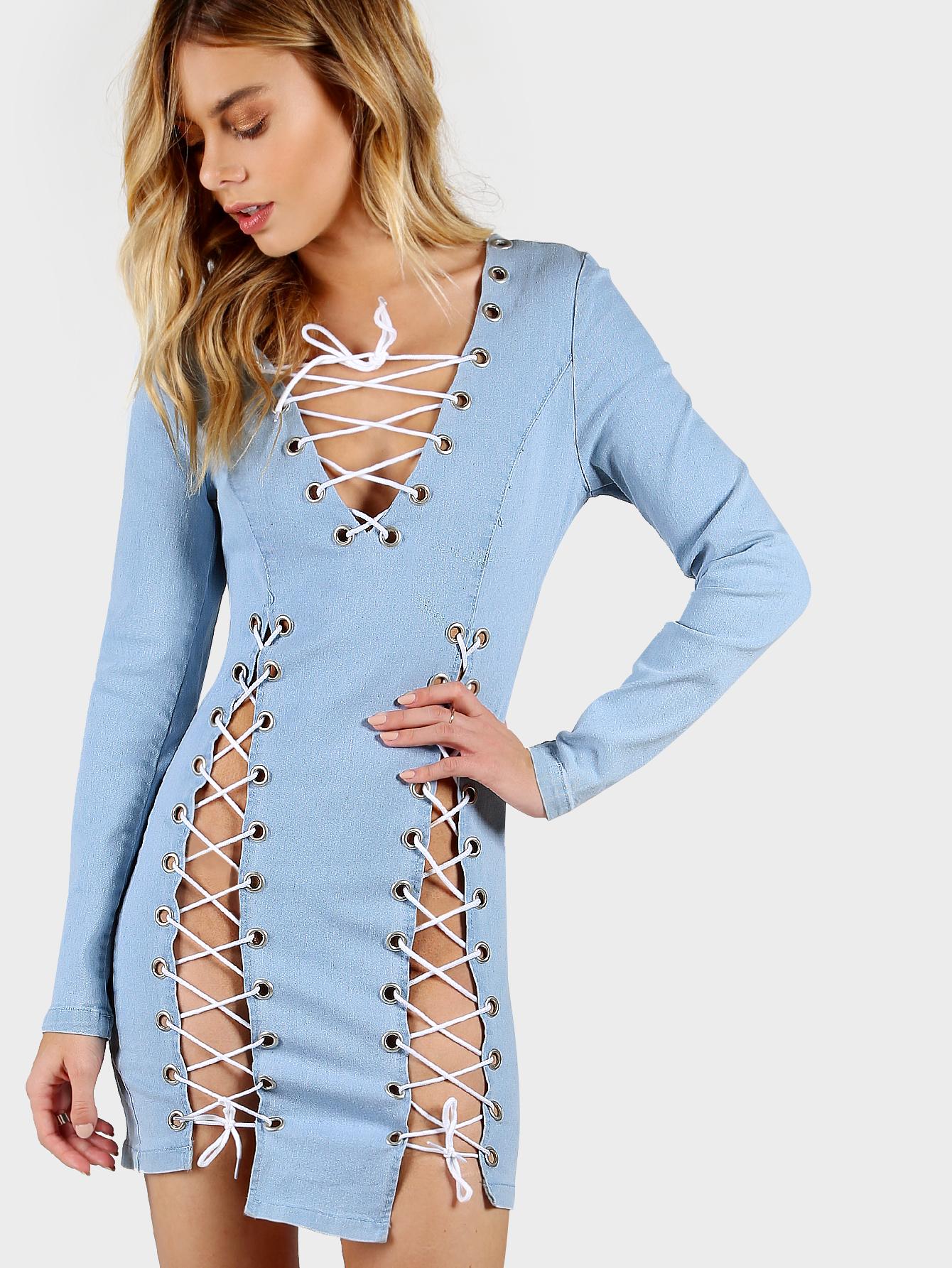c96da096cf Lace Up Denim Bodycon Dress LIGHT BLUE -SheIn(Sheinside)