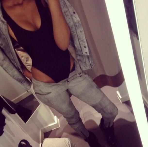 swimwear jacket jeans