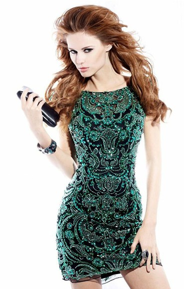 formal beaded cocktail homecoming dress short black prom prom dress sequin dress sparkly dress vert bouteille green