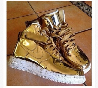 shoes air force ones liquid gold sneakerhead sneakers metallic shoes