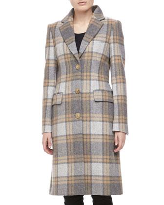 Michael Kors Belmont Plaid Wool Coat, Banker  - Neiman Marcus