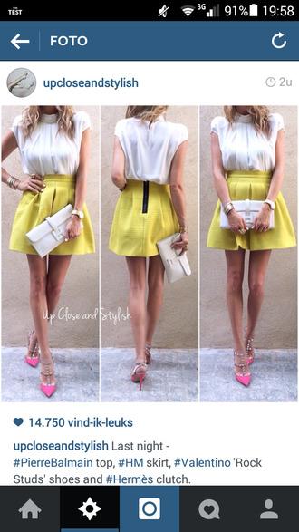skirt yellow skirt skater skirt classy