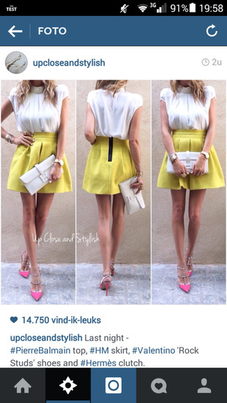 skirt yellow skirt skater skirt chic