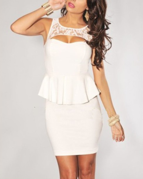 Dress: peplum, bodycon, bodycon dress, white dress, lace dress ...