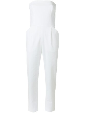 jumpsuit strapless women spandex white cotton