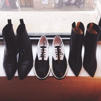 shoes black and white shoes dandy gold black white leather black oxfords flats