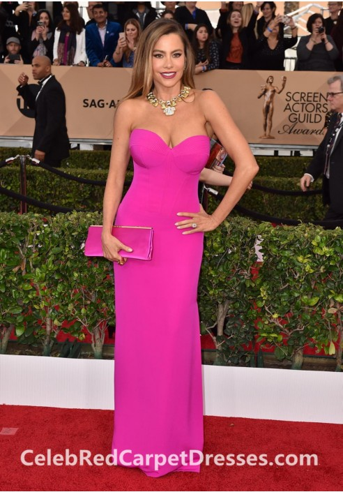 Sofia Vergara SAG Awards 2016 Pink Strapless Prom Dress