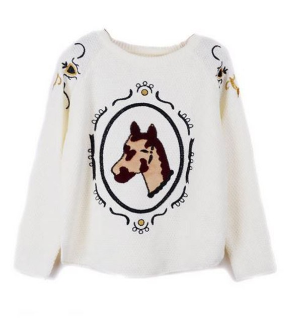 white sweater white embroidered sweater horse embroidered horse head embroidered detail one size sweater www.ustrendy.com