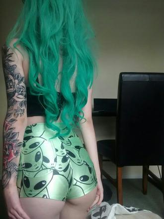 shorts alternative bootyshorts short shorts hipster tumblr alien grunge