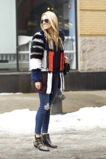 mind body swag blogger ripped jeans fur coat colorblock winter coat jeans sweater shoes bag sunglasses susanna boots multicolor colorful buckle boots buckles ankle boots black boots aviator sunglasses blue jeans winter outfits winter look