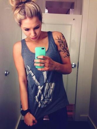 t-shirt girl tattoo blonde hair instagram bones iphone bones prints blue awesome style skeleton shirt