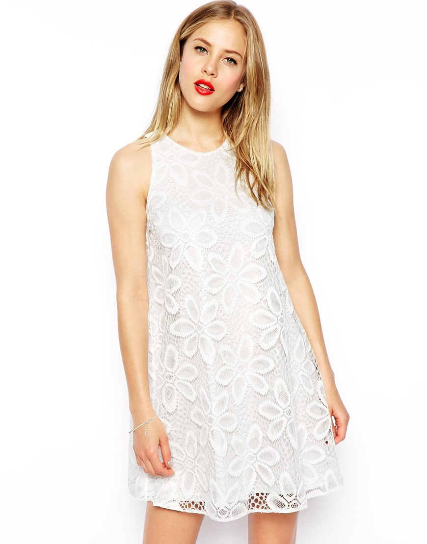 ASOS Swing Dress In Big Flower Lace at asos.com