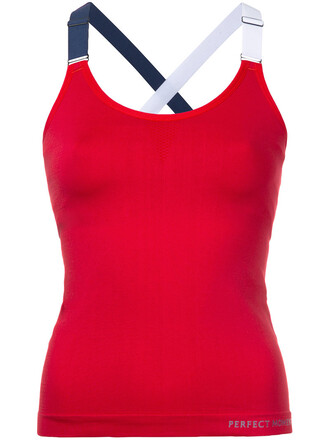 tank top top women spandex red