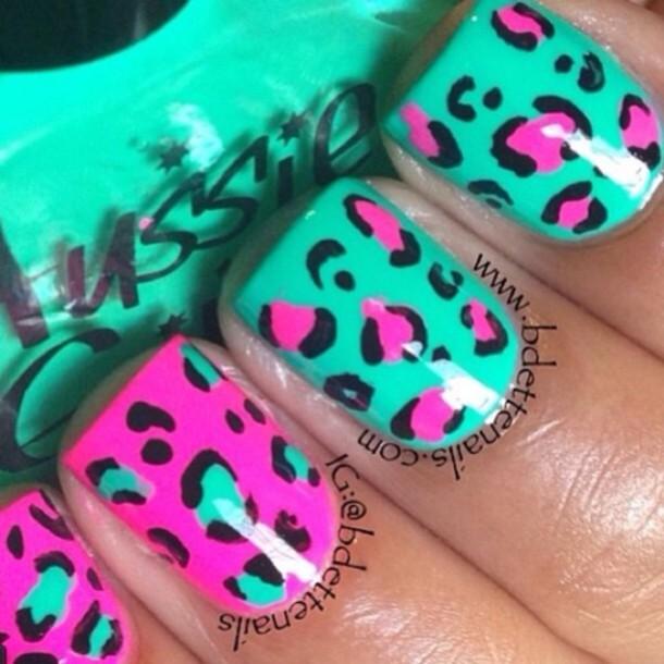 nail polish animal print pink turquoise