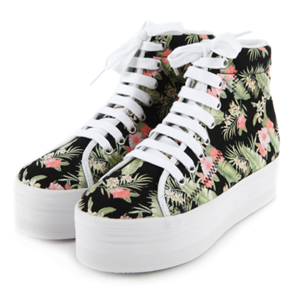 shoes noir blanc white floral platform shoes trainers