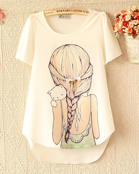Womens Fashion Girl Cat Print Crewneck Short Sleeve Top T-Shirt R864SE