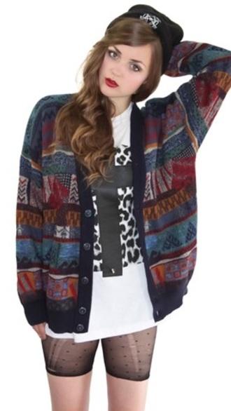 cardigan grunge style hipster alternative sweater pattern tribal pattern