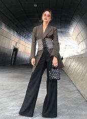 bag,blazer,wide-leg pants,jamie chung,blogger,belt,instagram