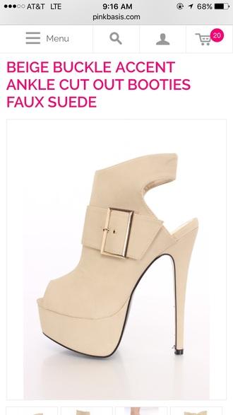 shoes beige heels booties