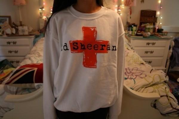 sweater ed sheeran oversized sweater ed sheeran album red white +