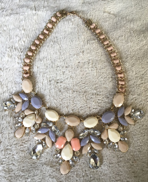 jewels chunky necklace pastel large necklace necklace gold