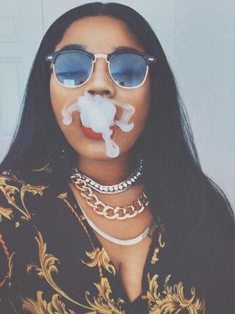 sunglasses black girls killin it print chain necklace urban wayfarer