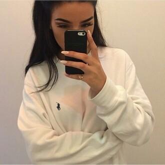 shirt white ralph lauren ralph lauren sweater sweater jumper white sweatshirt ralph lauren polo