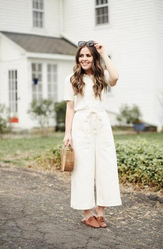 dress corilynn blogger jumpsuit shoes sunglasses bag cult gaia bag white jumpsuit loafers