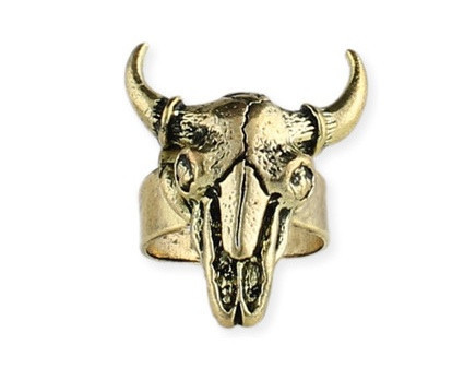 Gold Steer Skull Ring | Shop Coolie