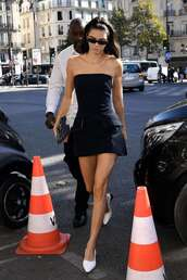 dress,fashion week,streetstyle,kardashians,kendall jenner,strapless,mini dress