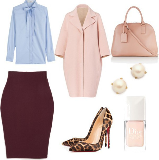 skinny hipster blogger blue shirt burgundy skirt pink coat handbag leopard print high heels pearl office outfits